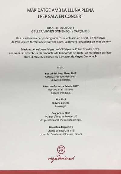 Celler Vinyes Domènech-menu