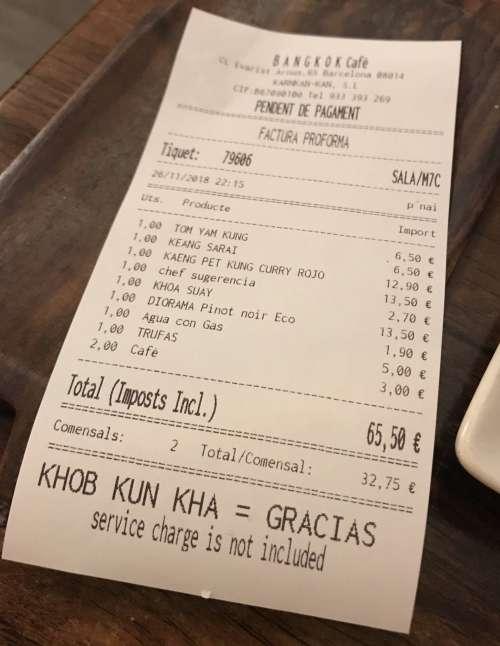 Bangkok cafè tiquet