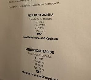 Ricard Camarena-menu