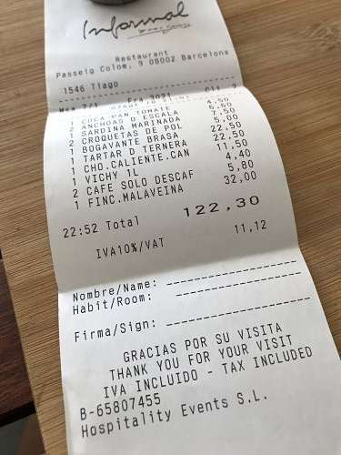 Restaurant Informal tiquet