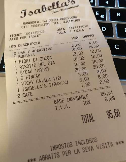 Isabella's Restaurant tiquet