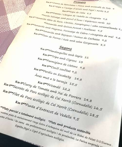 Restaurant La Cooperativa carta