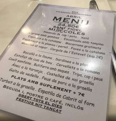 Ca l'estevet menu