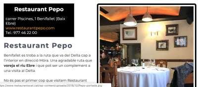 Restaurants Sud de Catalunya Pepo
