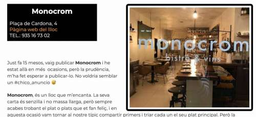 Restaurants BCN 2020 Monocrom