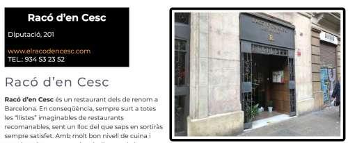 Restaurants Recomanats Barcelona Racó d'en Cesc
